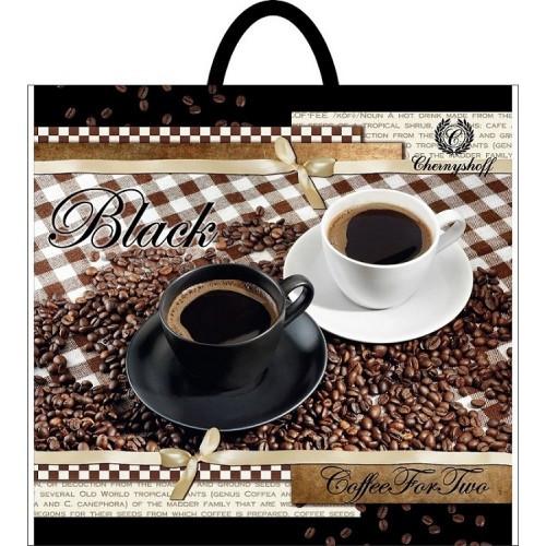 Полиэтиленовый пакет с петлевой ручкой ''Черное кофе'' 380*340, 10 шт