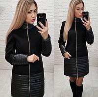 Женское стильное кашемировое пальто со вставками плащевка, фото 1
