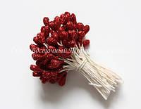 Тичинки для квітів «Червоні з блискітками»