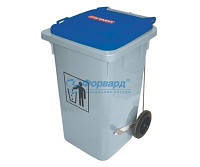 03405 Контейнер для мусора Araven синяя крышка 490х525х940 мм, 120 л