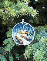 Набор для вышивки нитками Новогодняя игрушка Уютный домик