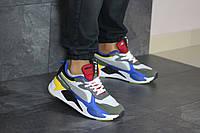 Мужские кроссовки в стиле Puma RS-X Hard Drive, кожа, замша, сетка, пена, серые с синим 44 (28,1 см)