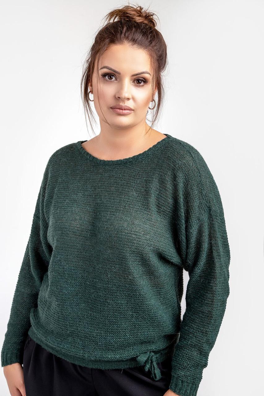 Теплый тонкий женский джемпер зеленый