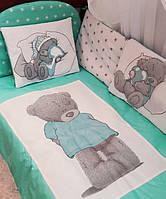 """Детское постельное белье в кроватку """"Тедди"""", в расцветках мятный"""