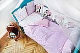 Комплект детского постельного белья  в кроватку  с бортиками  Единорог, фото 5