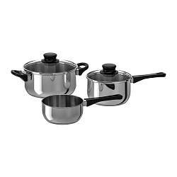 ИКЕА (IKEA) АННОНС, 902.074.02, Набор кухонной посуды, 3 предмета, Стекло, нержавеющ сталь