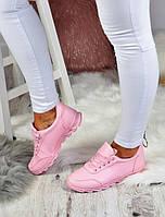 Яркие розового цвета кроссовки для девочек