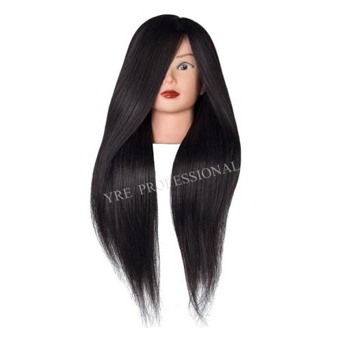 Голова для причесок с натуральными черными волосами