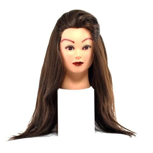 Голова для причесок с натуральными коричневыми волосами