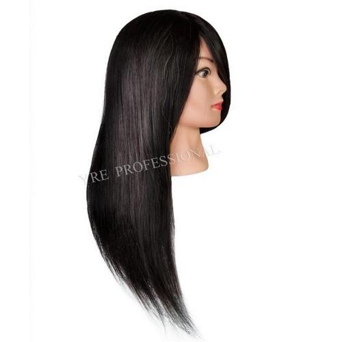 Голова для причесок с натуральными черными волосами 519В