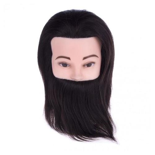 Голова учебная мужская для причесок с натуральными волосами и бородой