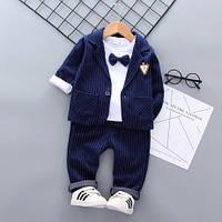 Нарядный костюм с пиджаком на мальчика 1-2-3-4 лет, костюмчик детский тройка праздничный
