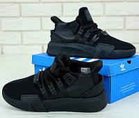 Мужские кроссовки Adidas Originals EQT Bask Adv (Triple Black) 41-45р. Живое фото (Реплика ААА+)