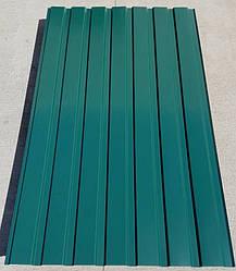 Профнастил для забору, колір:зелений ПС-20, 0,45 мм, висота 1.5 метра ширина 1,16 м