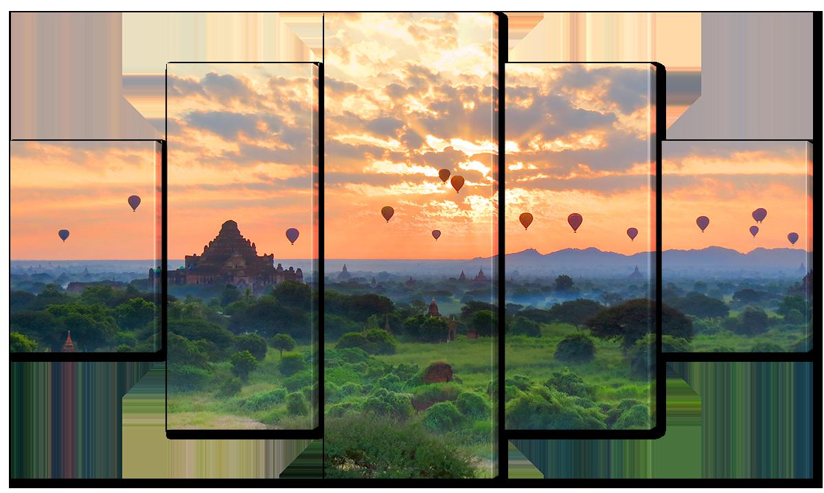 Модульная картина Interno Эко кожа Воздушные шары на закате 185х106см (A3617XXL)