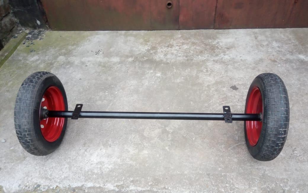 Балка с колесами в сборе (ступицы 2101 шплинтованые) 155 см Бут
