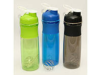 T144-29 Шейкер пластик 750 мл, Спортивная бутылка шейкер, Шейкер для спорт питания, Шейкер с пружиной