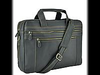 Кожаная сумка для ноутбука документов командировок вместительная мужская деловая черная винтажная