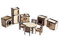 Конструктор из дерева 3Д пазл Мебель: кухня Kalinin арт 053