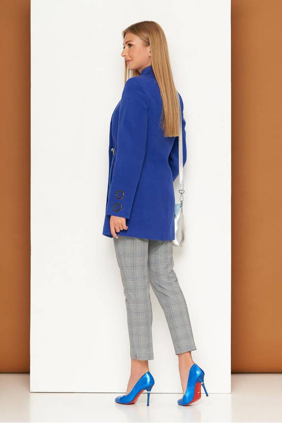 Короткое женское пальто кашемировое осеннее синее, фото 2