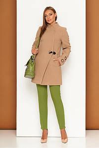 Короткое женское пальто из кашемира осеннее бежевое