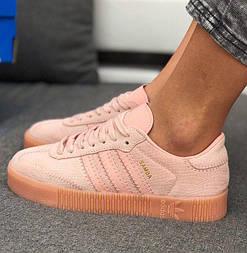 Женские кроссовки Adidas Samba Pink 36-41рр. Живое фото. Топ качество! (Реплика ААА+)