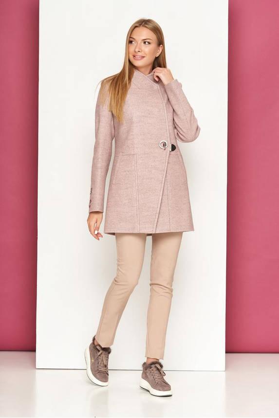 Короткое женское пальто кашемировое осеннее пудра, фото 2