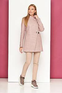 Короткое женское пальто кашемировое осеннее пудра
