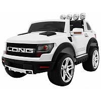 Детский электромобиль на аккумуляторе Cabrio LONG EVA белый с пультом управления и музыкой MP3, фото 1
