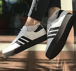 Женские кроссовки Adidas Samba White Black 36-40рр. Живое фото. Топ качество! (Реплика ААА+)