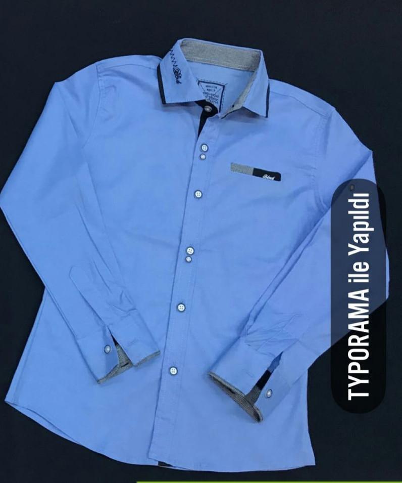Синяя рубашка стрейч на мальчиков 134,146,158,170 роста BLUELAND