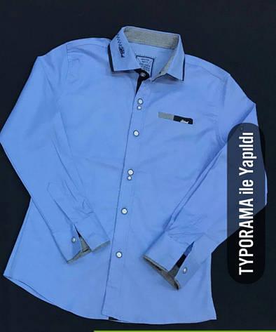 Синяя рубашка стрейч на мальчиков 134,146,158,170 роста BLUELAND, фото 2