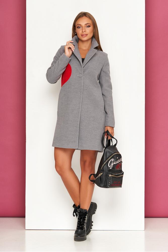 Пальто кашемировое женское демисезонное серое
