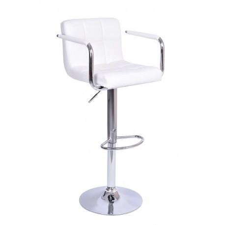 Барный стул Hoker Monte Alter с регулированием высоты и поворотом сидения Эко кожа Белый