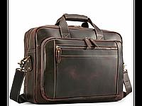 Мужская кожаная бизнес сумка для ноутбука документов командировок вместительная прочная коричневая