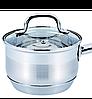 Ковш с крышкой из нержавеющей стали Benson BN-227 (1 л) | сотейник | ковшик Бенсон | набор посуды, фото 8