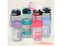 T144-25 Бутылка 1 л пластик с поилкой + щётка для мытья в подарок, Спортивная бутылка, Спортивная фляга