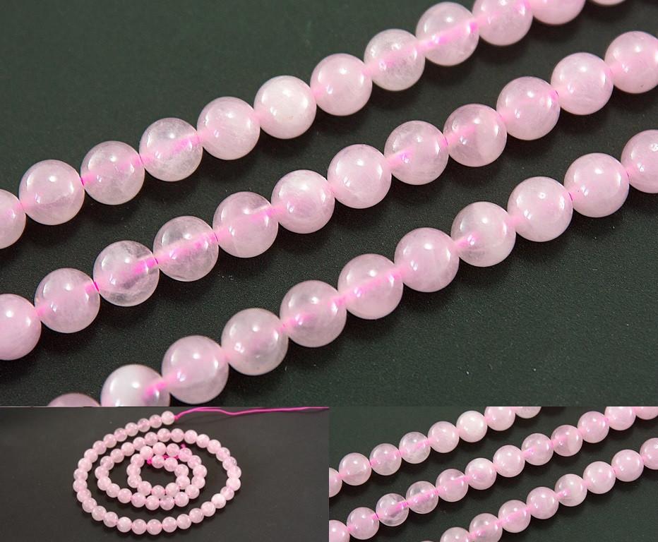 """Натуральный камень Ø6мм, бусины """"Розовый кварц"""", нить ≈ 39см ≈ 62 бусины"""