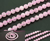 """Натуральный камень Ø6мм, бусины """"Розовый кварц"""", нить ≈ 39см ≈ 62 бусины, фото 1"""