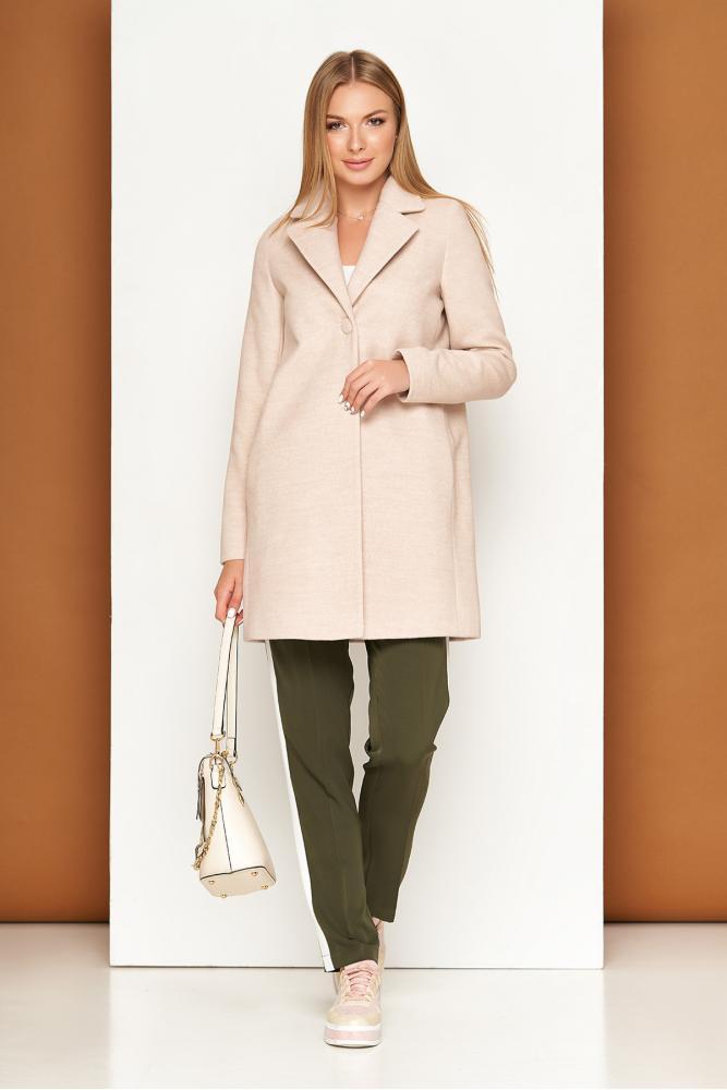 Женское шерстяное пальто демисезонное бежевое