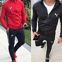 Мужской серый спортивный костюм  Puma Пума 2019 чёрный, чёрный с красным
