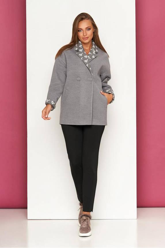 Женское пальто кашемировое короткое осеннее серое, фото 2