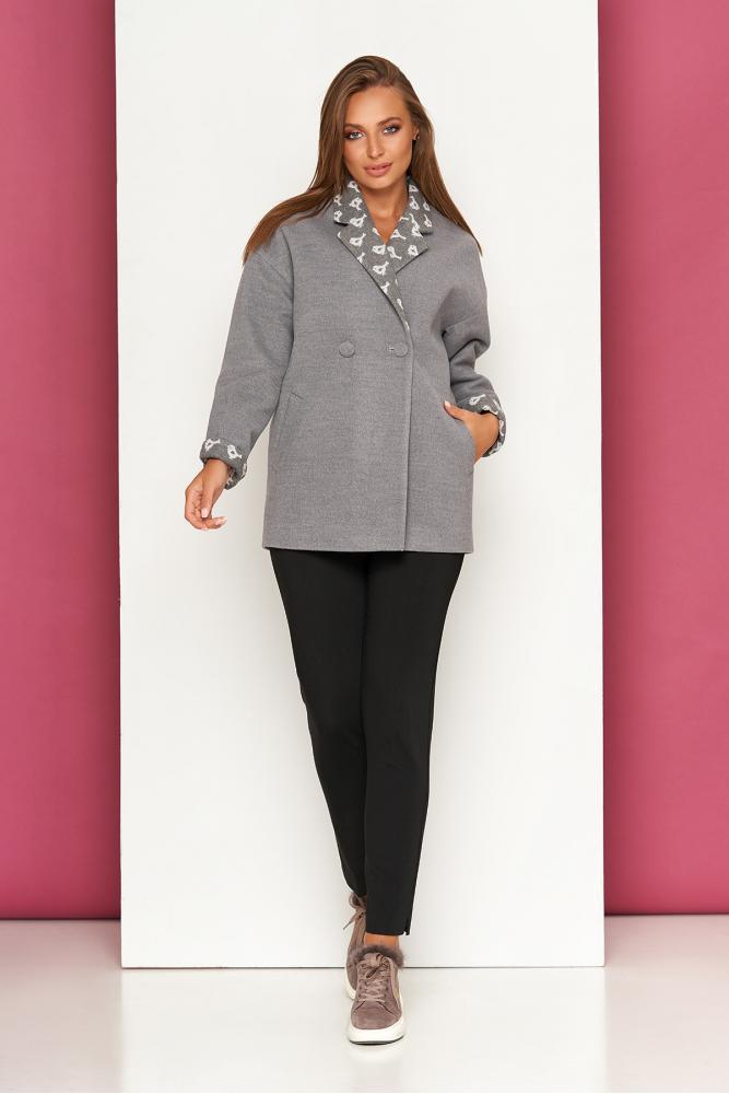 Женское пальто кашемировое короткое осеннее серое