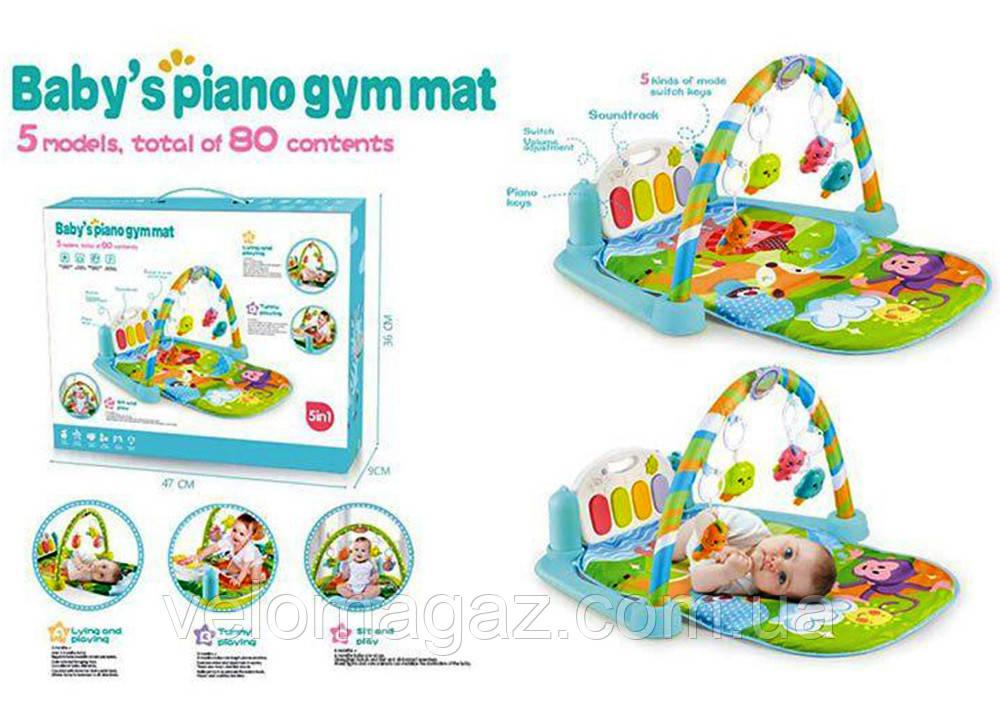 Развивающий коврик 720*450 мм для младенца с пианино 9921