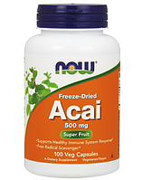 Активное долголетие NOW Acai 500 mg freeze dried (100 капс)