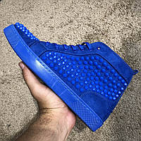 Christian Louboutin Louis Spikes Men's Flat Blue Suede