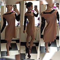 Платье с легким люрексом и стрейч-гипюром арт 253
