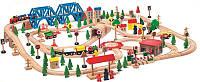 Деревянная железная дорога Мега 170 элементов в деревянном ящике  Woody Чехия