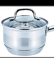 Ковш с крышкой из нержавеющей стали Benson BN-229 (1.8 л) | сотейник | ковшик Бенсон | набор посуды, фото 1