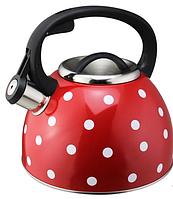 Чайник со свистком из нержавеющей стали Benson BN-706 (3 л), нейлоновая ручка, индукция | свистящий чайник, фото 1